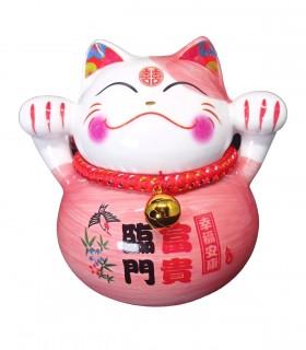 Maneki neko Gatto Fortunato Rosa - La ricchezza e l'onore vengono da soli