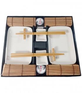 Set servizo da sushi marrone per 2 persone
