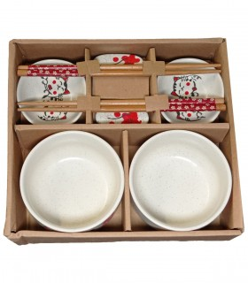 Set sushi in ceramica per 2 persone dipinto maneki neko - 8 pz…