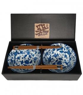 Set ciotole in polcerana fiore blu con bacchette da 2 - HIBIKI