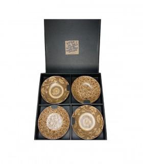 Set ciotle in ceramica colore marrore 4 pezzi - hibiki