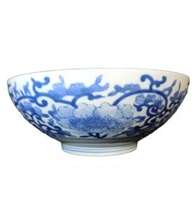 Ciotola in porcellana giapponese con foglie di bambu blu - 21cm
