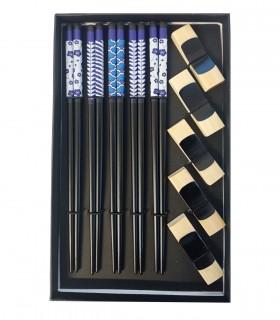 Set Bacchette stile giapponesi da 5 con fiore blu