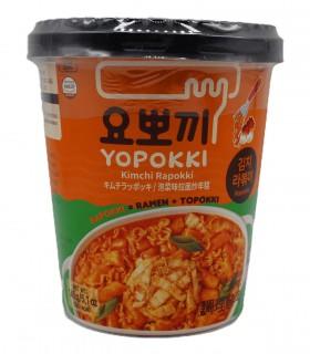 Gnocci di riso Coreani con Ramen Noodles al gusto di Kimchi  Rabokki cup - Yopokki 145g
