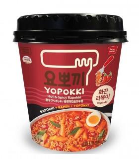 Gnocci di riso Coreani e Ramen Noodles con salsa Piccante Rabokki cup - Yopokki 145g