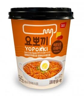Gnocci di riso Coreani e Ramen Noodles con salsa Agrodolce Piccante Rabokki cup - Yopokki 145g