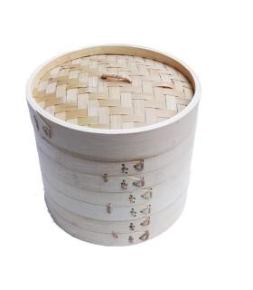 Cestelli Di Bambu Set Da 3 Piani Per Cucina Al Vapore - 18cm