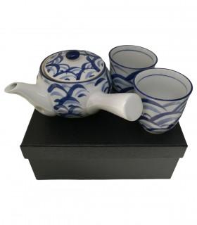 Set teiera Manico Laterale due tazze e filtro in acciaio - Stile Porcellana blu e bianca