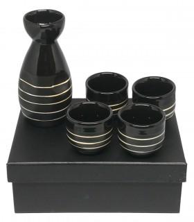 Set servizio da Sake in ceramica nero con disegni Fatti a Mano
