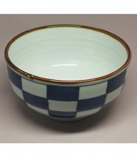 Ciotola per Udon in Porcellana Giapponese -  Decorazioni Scacchiera blu