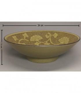 Ciotola Ramen Ceramica Grande Giapponese -  Decorazioni Fiore Marrone