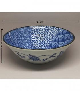 Ciotola Ramen in Porcellana Medio Giapponese -  Decorazioni Fiore Blu