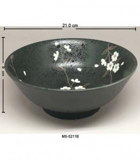 Ciotola Udon in ceramica nera - Dipinto fiore della prugna bianca