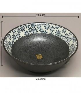 Ciotola da Udon Ceramica Nera Con Dipinto Fiore Blu Dimensione Medio