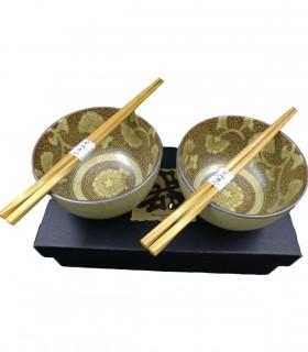 Set 2 Ciotole Ceramica per Riso Giapponese Marrone con Bacchette Confezione regalo