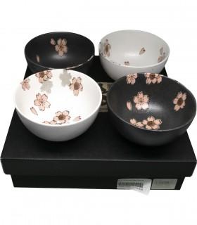 Set  Ciotole in ceramiche per Riso con dipinto Fiore di Pesco