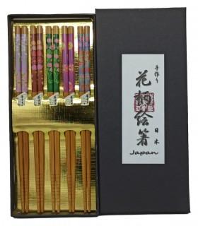 Set 5 Paia Bacchette Per Sushi Giapponese - Fiori Primavera